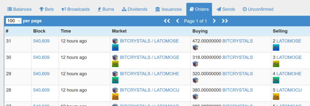 Example Sell Orders AtOMo